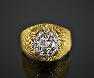 $2900 Vintage Estate 18K Yellow Gold Pave 1.00ct Diamond Cocktail Rope Ring Band