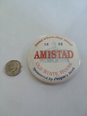 AMISTAD TRIAL HARTFORD OLD STATE HOUSE PINBACK 1990s CONNECTICUT