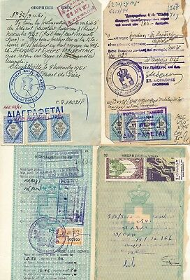 Egypt, Greece & Portugal,10 Consular Revenues On 4 Passport Pages.  #d1517