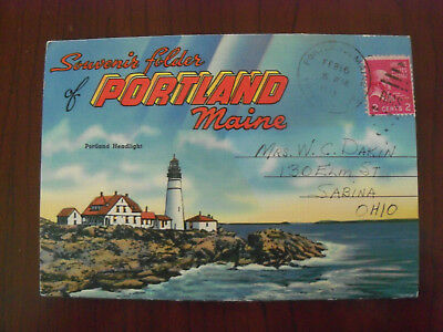 Vintage Fold-Out Souvenir Postcard Folder Portland Maine 1942