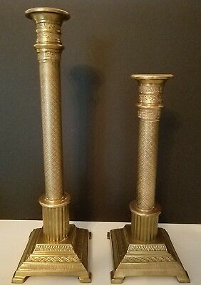 Pair of antique brass candlesticks etched candleholders India vintage ornate