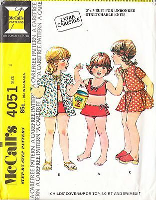 Vintage 1970s Girls Childs Swimsuit Cover-up Top Skirt Size 3-4-5 Sewing Pattern