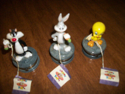 Looney Tunes Bugs, Sylvester and Tweety Porcelain Hinged Boxes by Midwest 1996