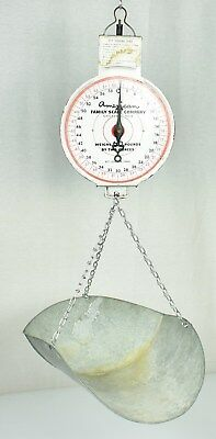 Vtg American Family General Store Produce Hanging Scale Galvanized Metal Farm