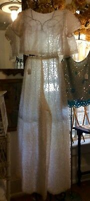 VINTAGE SHEER OUTFIT - CROP TOP w/ HIGH WAISTED WIDE LEGGED PANTS