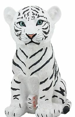 """Large 10""""H Siberian White Tiger Cub Statue Figurine Hand Painted Sculpture"""