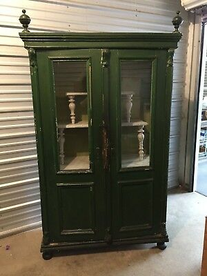 Vintage Armoire, Cabinet, Green, Double Glass Doors, Glass Sides, Tiered Shelves