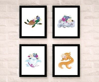 Under The Sea Mermaid Friends Watercolor Nursery Art Wall Decor Set Of 4