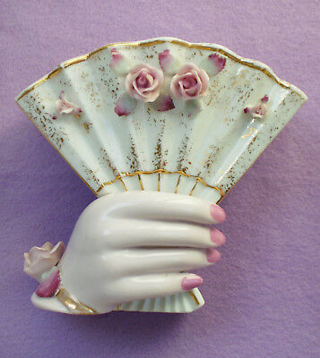 Vintage LEFTON China VASE LADY's HAND Holds a FAN Raised Roses Gold Trim