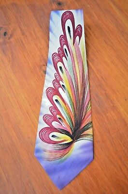 Vintage 1940s Hand Painted California Men's Silk Neck Tie Regal Cravat purple