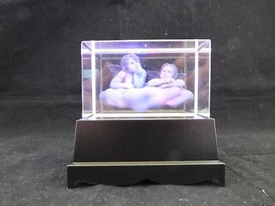 Cherub Angels Crystal Laser Block with Colour Changing Light Box.