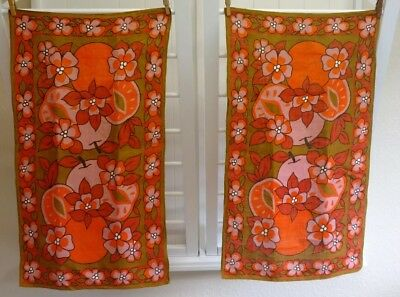 Vintage Retro Mid Century Modern Linen Towel Pair Lot Green Orange Pink Brown