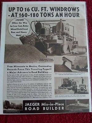 Vintage 1939 Jaeger Mix in Place Road Builder Heavy Equipment Advertisement
