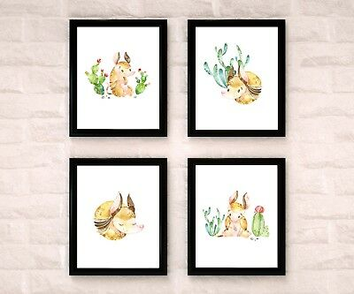 Armadillo Watercolor Nursery Art Wall Decor Set Of 4