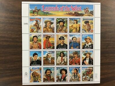 {BJ Stamps} 2869   Legends of the West.  29¢  MNH Sheet of 20.   Issued in 1994.