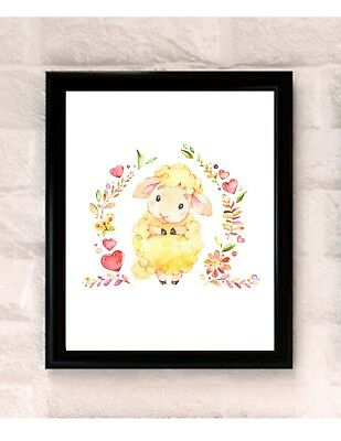 Sweet Lamb Sheep Watercolor Nursery Art Wall Decor