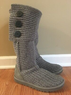 UGG Australia Gray Classic Cardy Sweater Knit Tall Boots Women's Size 7