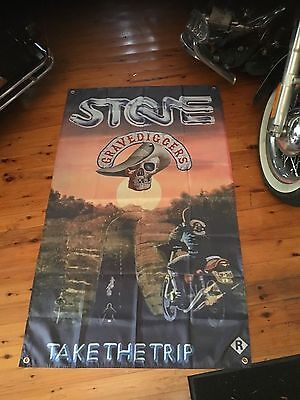 Stone motorcycle movie outlaw  - Man Cave Work Shop Garage Shed Bar Sticker Flag