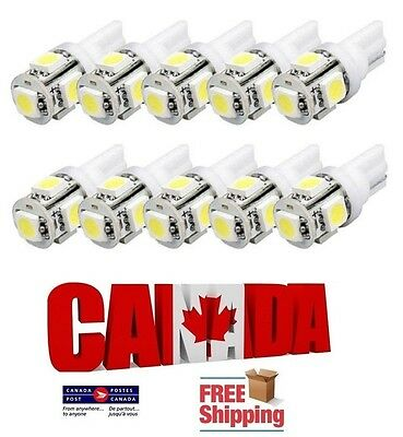 10pcs 5SMD White 6000k LED T10 194 158 168 912 Car Dome License Plate Light Bulb