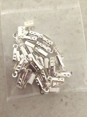 50 pk silver plated Fold Over Cord End Clamp Tips Jewellery Findings 10 mm