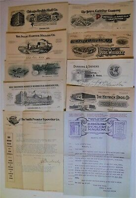 B883 US Lot of 10 Early Billheads and Letterheads 1908-1910 - Fine Condition