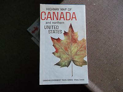 Collectible Vintage Canada Highway Map W/ Northern U.s. - 1962