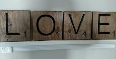 "4 Large Scrabble Tiles ""LOVE"" Stained Wood Letters Wall Art Decor Hanging 8""x 8"""