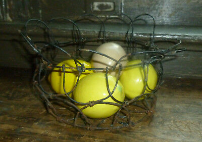 "antique Hearth Cooking 1800s TWISTED WIRE EGG BASKET 9"" Flower Design"