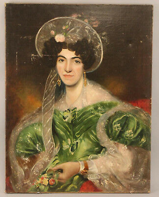 Beautiful Original LARGE Antique 19th C Oil Portrait Painting of a Lady in Green