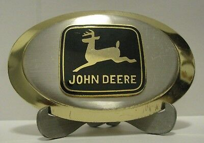 John Deere 1968 JD Leaping Deer Trademark Logo Metal & Enamel Oval Belt Buckle
