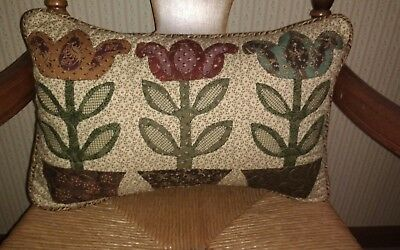 """Country/Primitive/Farmhouse Quilted~Folk Art Flowers~Pillow~12"""" x 18"""""""