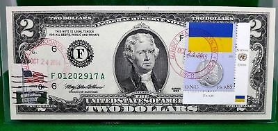 Us $2 Dollars 1976 Federal Reserve Note Coin And Flag Ukraine Gem Unc F01202917A