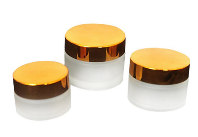 3pcs Empty Refillable Frosted Glass with Gold Lid Cosmetic for Salve, Cream,