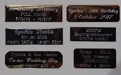 Engraved metal Personalised Trophy Plates, Name Plates, Photo Plaques w/adhesive