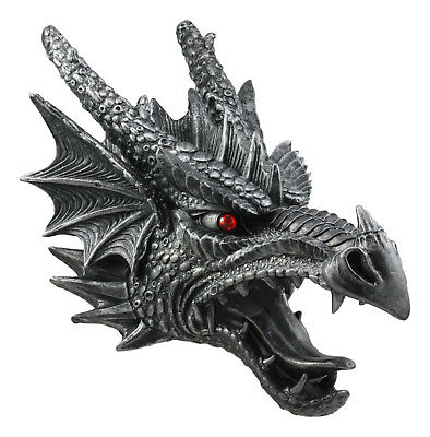 """Large Fierce Medieval Dragon Head Wall Figurine Hanging Mount Plaque 16"""" Tall"""