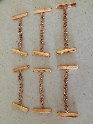 Rose Gold Necklace Leather Cord end 30 mm End Crimp 6 Pack  with clasp and chain