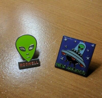Two Authentic Roswell New Mexico Alien Enamel Pins, eye catching