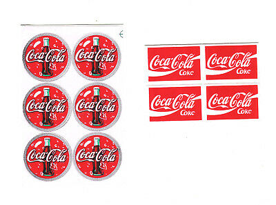 10 SMALL COCA COLA DECAL  STICKERS - Just Peel and Stick them