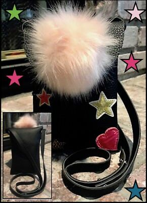 kidpik SO FUN...SO CUTE...BLACK PURSE with PINK POMPOM & PATCHED DETAIL