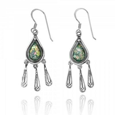 Handmade 925 Sterling Silver Teardrop Shape Roman Glass French Wire Earrings