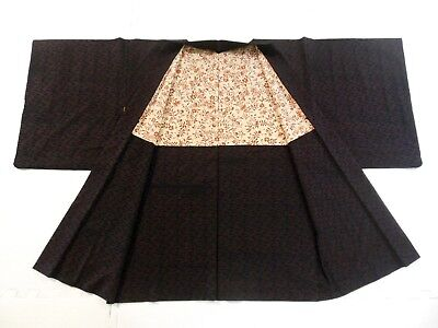 *ANTIQUE Japanese Kimono, HAORI, Silk, URUSHI, Black, Pink S062103