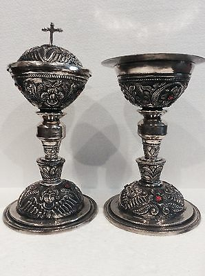 beautiful, Chalice & Copon, liturgical chiseled, of silver colonial 1892 Perú