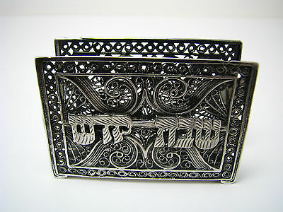 STERLING SILVER MATCHBOX HOLDER CASE for SHABBAT/HOLIDAY CANDLES Israel ca1960s