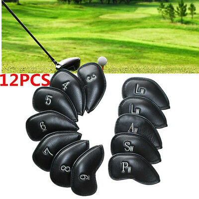 12pcs PU-Leather Golf Club Iron Head Covers for Ping Callaway Taylormade