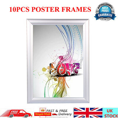 10 X A4 Silver Snap Frame Picture Poster Holder Clip Display Notice Board UK  New