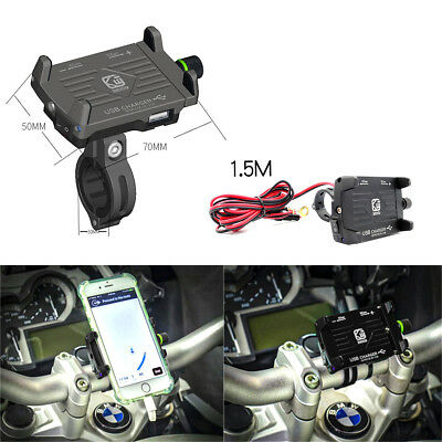 Aluminum Motorcycle Bicycle Handlebar phone holder USB Charger   For Phone GPS