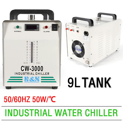 CW-3000 Industrial Water Chiller 50W/℃ For 60/80W CO2 Glass Laser Tube 9L 110V