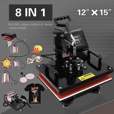 "12"" x 15"" Swing Away Heat Press Machine Transfer Sublimation T-Shirt Hat Plate"