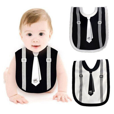 2x Baby Boy Girl Toddler Infant Bibs Tie Gentleman Towel Feeding Bandana Bib