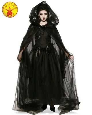 Ladies Halloween Costume Gothic Vampire Witch Black Hooded Cape